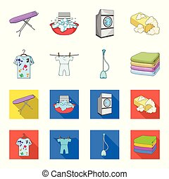 Vacuum cleaner, a stack of cloth, dirty and clean things. Dry cleaning set collection icons in cartoon,flat style vector symbol stock illustration web.