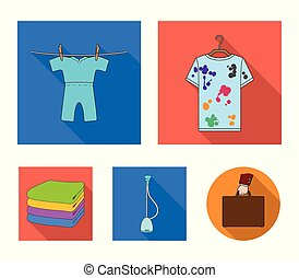 Vacuum cleaner, a stack of cloth, dirty and clean things. Dry cleaning set collection icons in flat style vector symbol stock illustration web.