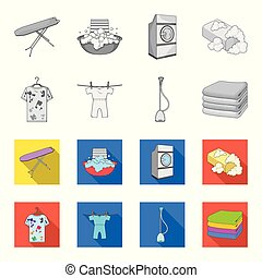Vacuum cleaner, a stack of cloth, dirty and clean things. Dry cleaning set collection icons in monochrome,flat style vector symbol stock illustration web.