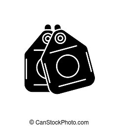 Vacuum cleaner bags black icon, vector sign on isolated background. Vacuum cleaner bags concept symbol, illustration