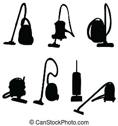 vacuum cleaner vector illustration silhouettes on a white...