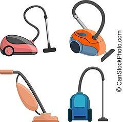 Vacuum cleaner icon set, cartoon style