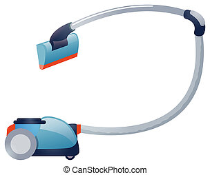 Vacuum cleaner - illustration drawing of portable rolling...