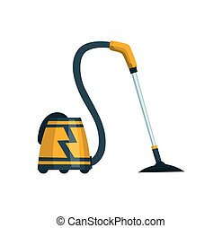 Vacuum cleaner modern icon. Carpet cleaner item or washing robot cyclone. Cartoon vector cleaning equipment for home, office or car.