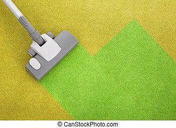 vacuum cleaner on a green carpet