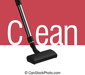 Vacuum cleaner on white and red background as a part of ...