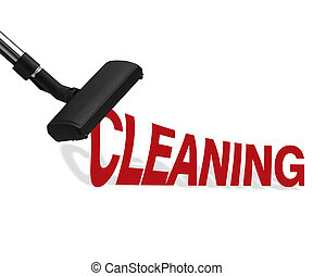 Vacuum cleaner on white background Suction cleaning word.