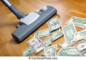Vacuum cleaner sucks on U.S. dollars