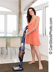 vacuum cleaner woman