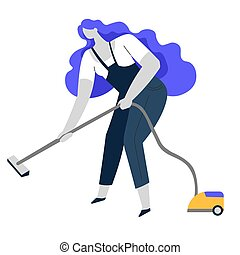 Vacuum cleaning, clean service or housewife, household chore