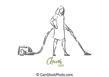 Vacuum cleaning concept sketch. Isolated vector illustration