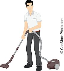 Vacuum Cleaning - Illustration Featuring a Man Using a...