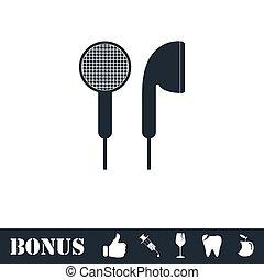 Vacuum headphones icon flat