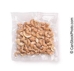 Vacuum plastic bag of cashew nuts