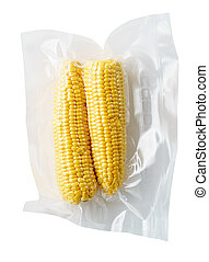 Vacuum sealed fresh corncobs for sous vide cooking cutout on white