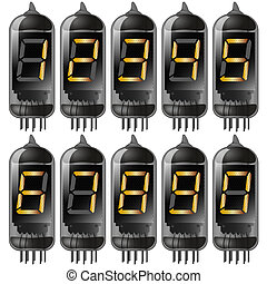 vacuum tube with numbers set. gradient mash