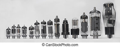 vacuum tube set - set of old vacuum tubes on white...