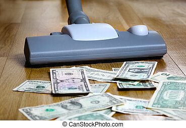 Vacuuming money polish money