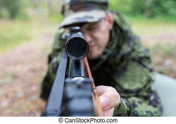 vadász, feláll, pisztoly, katona, erdő, becsuk, vagy