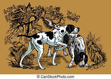 vadászat, ábra, kutyák