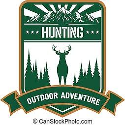 vadászat, és, kaland, ikon, helyett, sportszerű, tervezés