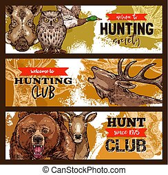 vadászat, klub, vadász, sport, állat, vad, transzparens