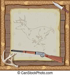 vadászat, meghívás, noha, fa keret