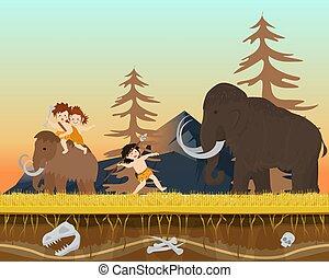 vadászat, vektor, ősi, kölyök, idő, üldöz, hím, lakás, történelem előtti, vad, ember, társaság, betű, lándzsa, hatalmas, illustration.