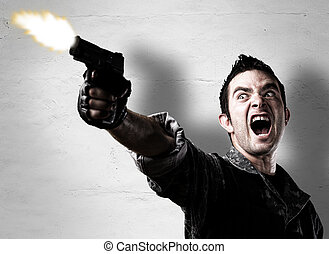 vadászik pisztoly, ember