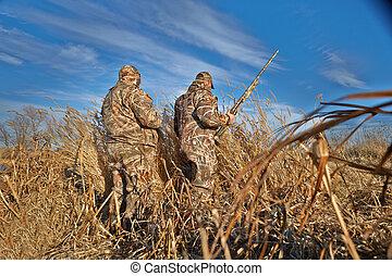 vadászok, noha, kézifegyverek, előkészítő, helyett, madár, vadászat