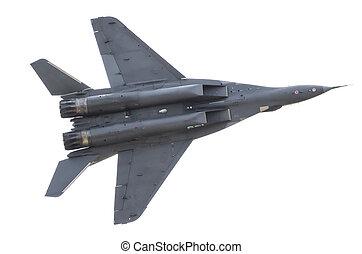 vadászrepülőgép, hadi, küzdelem, slicc, alatt, a, sky.