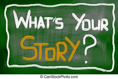 vad är, din, berättelse, begrepp