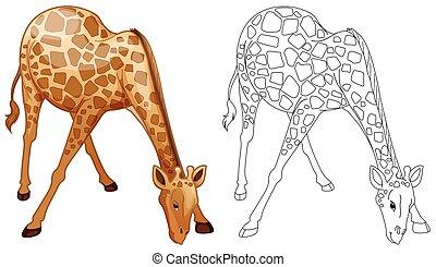 vad, doodles, zsiráf, állat, megfogalmazás