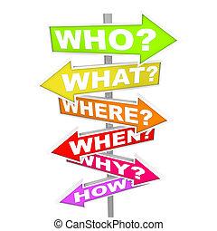 vad, ifrågasätter, när, -, hur, pil, undertecknar, var,...