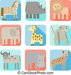 vad, ikonok, állatok, afrika