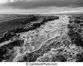 vad, izlandi, folyó, zúgó