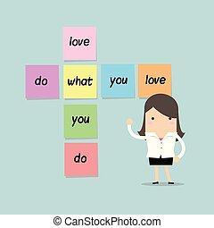 vad, kärlek, affärskvinna, klibbig, note., dig