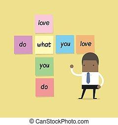 vad, kärlek, note., klibbig, afrikansk, affärsman, dig