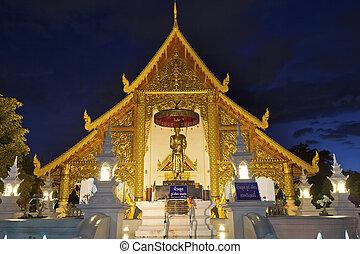 vad, phra, singh, tempel, om natten, in, chiang mai,...