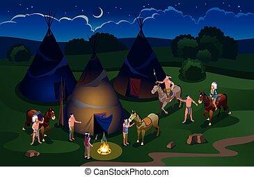 vad, történelem, american nyugat, indiánok, ikonok, tipi, tábor, éjszaka, isometric, háttér, elszigetelt