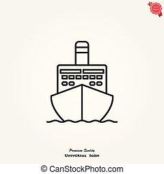 vada crociera nave, vettore, icona