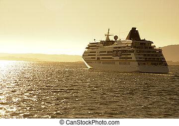 vada crociera nave, vicino, mare, viaggiare, e, trasporto