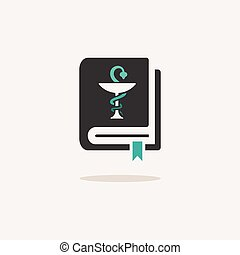 Vademecum. Icon with shadow on a beige background. Medicine vector illustration