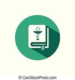 Vademecum icon with shadow on a green circle. Vector pharmacy illustration