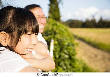 vader, aanzicht, dochter, schouwend