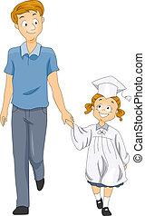 vader, afgestudeerd, geitje