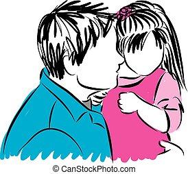 vader, dochter, illustratie