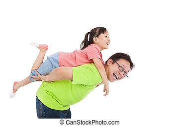 vader, dochter, spelend, vrolijke