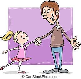 vader, dochter, spotprent, illustratie