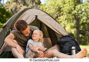 vader, en, zijn, zoon, kamperen